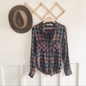 Chelsea & Violet | Plaid Raw Frayed Hem Button Up